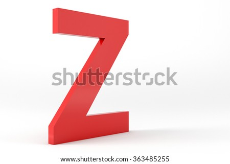 3D Red Letter Z Isolated White Background
