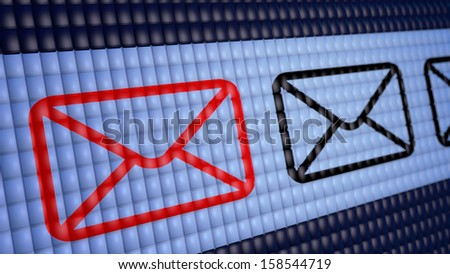 3d red message sign on screen - stock photo