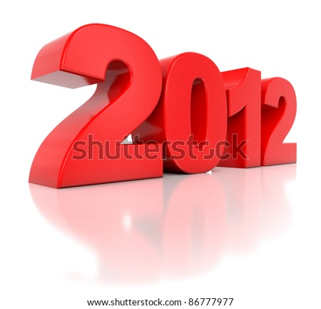 3d red new year 2012 - stock photo