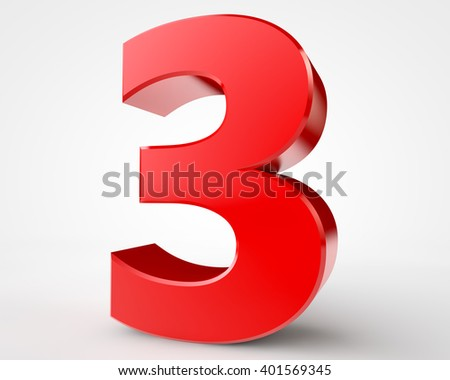 3d red number 3 collection on white background illustration 3D rendering - stock photo