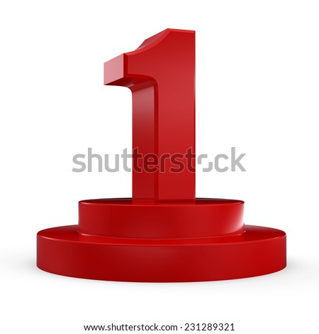 3d red number 1 from my number collection. 3d number one isolated on white background. - stock photo