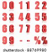 3d red numbers with percent and minus sign - stock vector