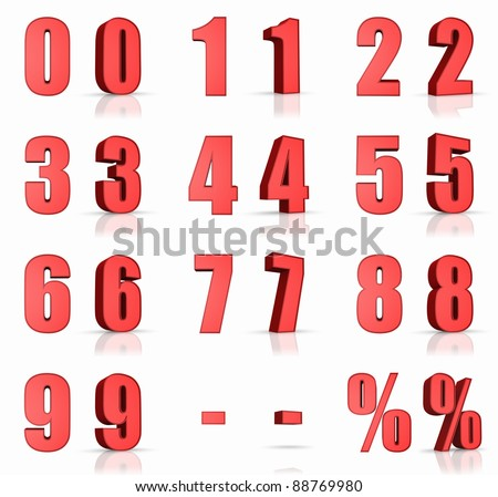 3d red numbers with percent and minus sign - stock photo