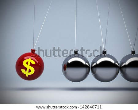 3d red pendulum dollar sign of about money or investment  impact art abstract background concepts - stock photo