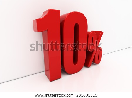 3D, red 10 percent - stock photo
