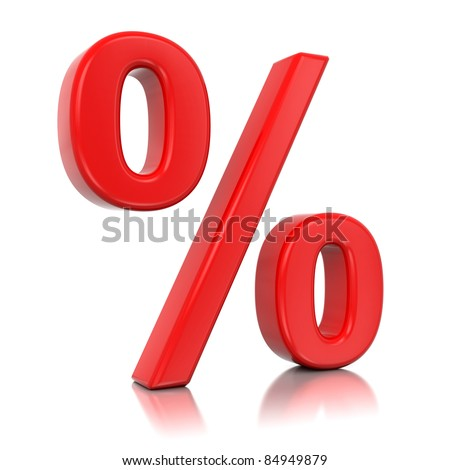 3d red percent isolated on mirror floor - stock photo