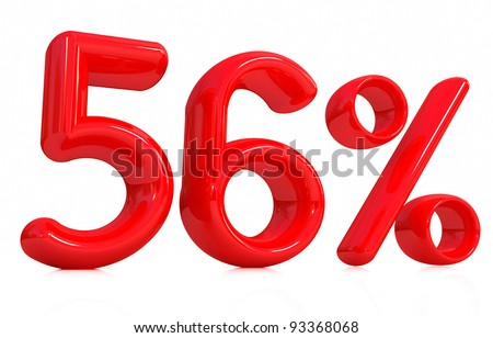 3d red 56 percent on a white background