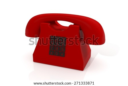 3D red phone on white background - stock photo