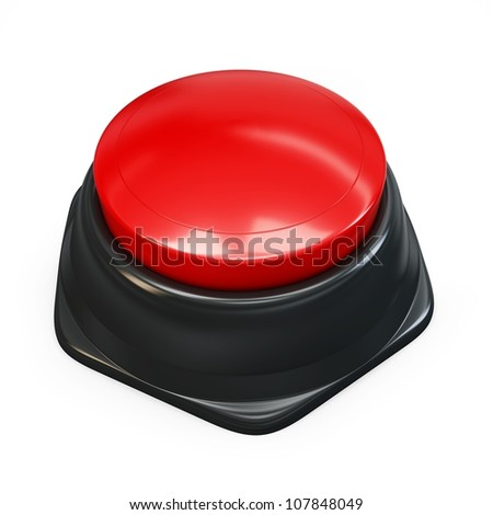 3d red plastic button on white background
