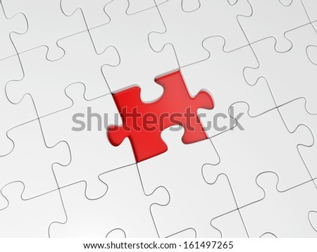 3d red puzzle piece on the whole puzzle
