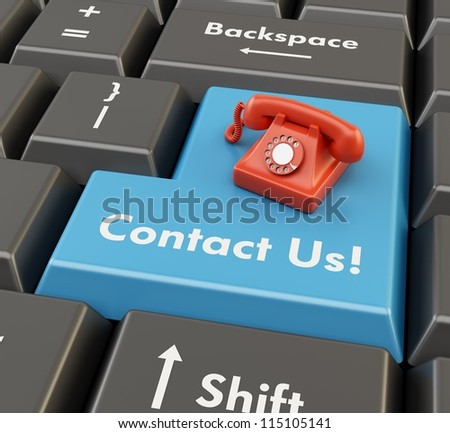 3d red retro phone on blue enter button - technical support concept - stock photo