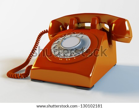 3d red retro-styled telephone - stock photo