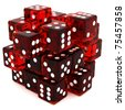 3D Red rolling dice cube on white background - stock photo