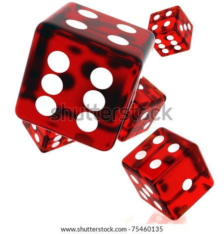 3D Red rolling dice on white background - stock photo