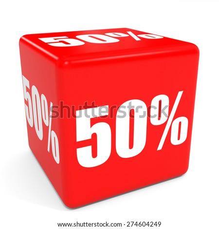 3D red sale cube. 50 percent discount. Illustation. - stock photo