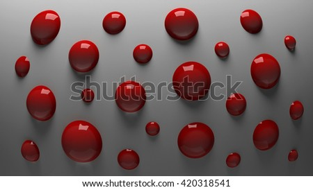 3D red shiny balls on a gray background - stock photo
