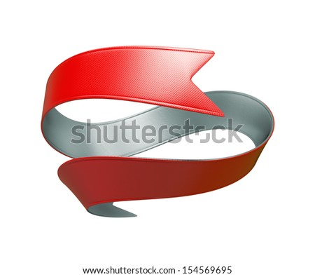 3d red silver double sided festive ribbon, isolated object - stock photo
