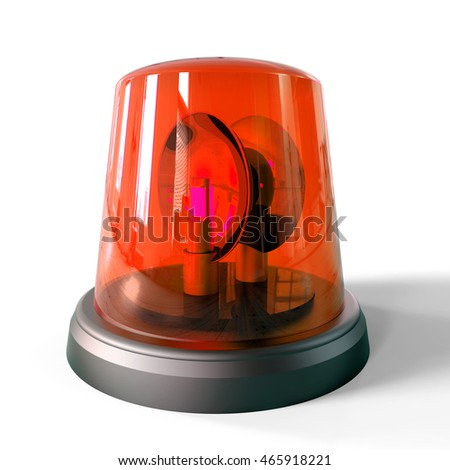 3d red siren isolated on a white background
