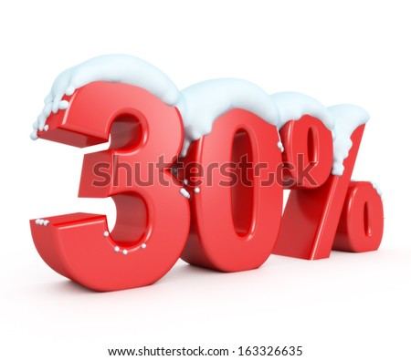 3d red snowy discount collection - 30% - stock photo