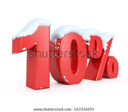 3d red snowy discount collection - 10% - stock photo
