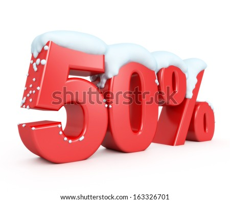 3d red snowy discount collection - 50% - stock photo