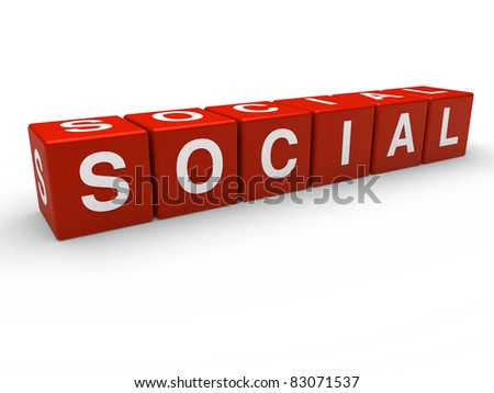 3d red social network communication connection cube - stock photo
