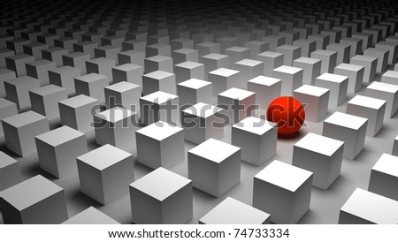 3d red sphere - stock photo