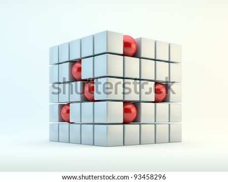 3D red spheres and pearly cubes abstract - stock photo