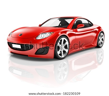 3D Red Sports Car - stock photo