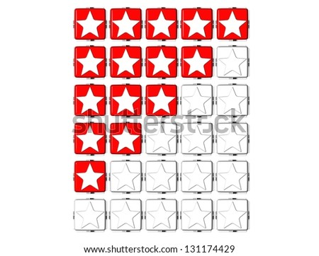 3D Red Stars Rating Button Click Here Block Text over white background - stock photo