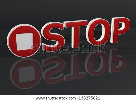 3D red stop text sign on dark gray background
