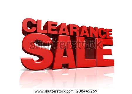 3D red text clearance sale on white background with reflection - stock photo