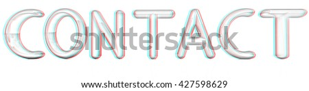 """3d red text """"contact"""" on a white background. Pencil drawing. 3D illustration. Anaglyph. View with red/cyan glasses to see in 3D. - stock photo"""