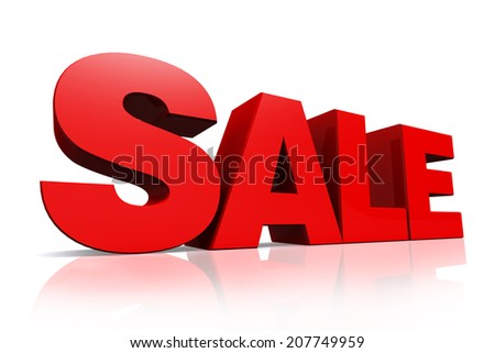 3D red text sale on white background with reflection