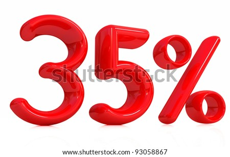 3d red thirty-five percent on a white background
