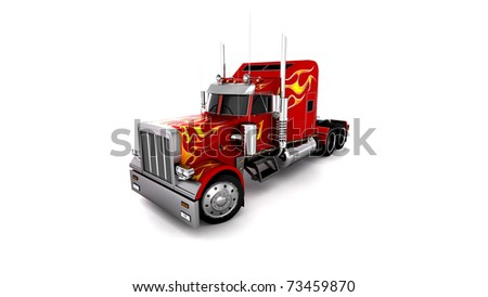 3D Red Truck - stock photo