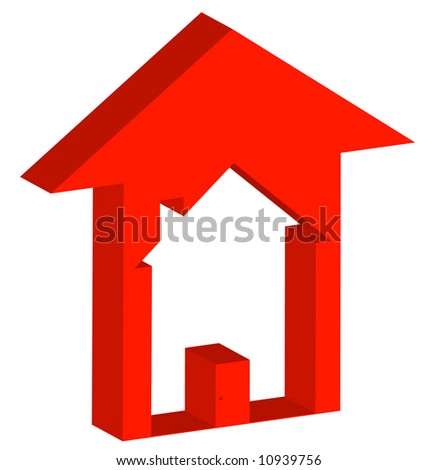 3d - red up arrow with house inside - rising prices in housing market