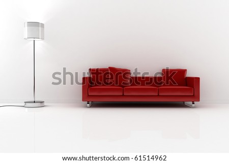 3d red vouch and white walls - stock photo