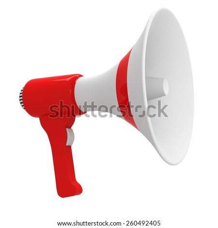 3d Red White Megaphone  - stock photo