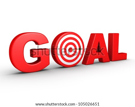 3d red word GOAL as a target and an arrow at the center - stock photo