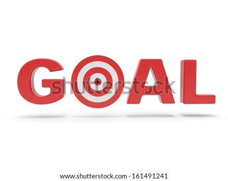 3d red word GOAL with 3d target replacing letter O - stock photo