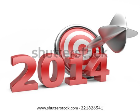3D red Year 2014 with a target. Concept image for achieving business objectives. - stock photo