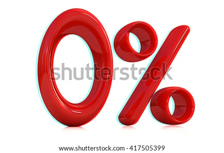 """3d red """"0"""" - zero percent on a white background. 3D illustration. Anaglyph. View with red/cyan glasses to see in 3D. - stock photo"""