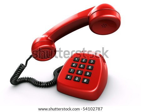 3d rednering of an old retro phone with a modern digital numpad - stock photo