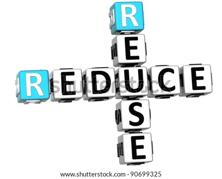 3D Reduce Reuse Crossword on white background
