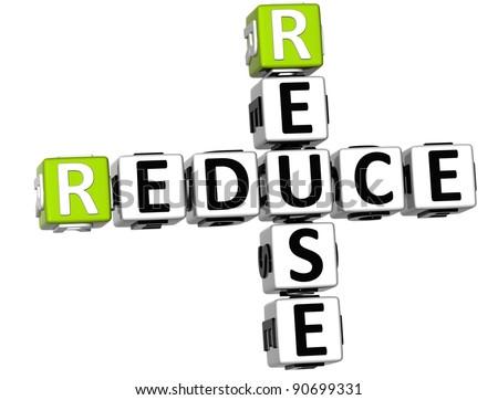 3D Reduce Reuse Crossword on white background - stock photo