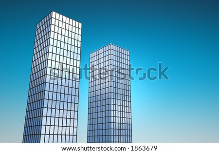 3d reflective glass buildings towering into the sky - stock photo