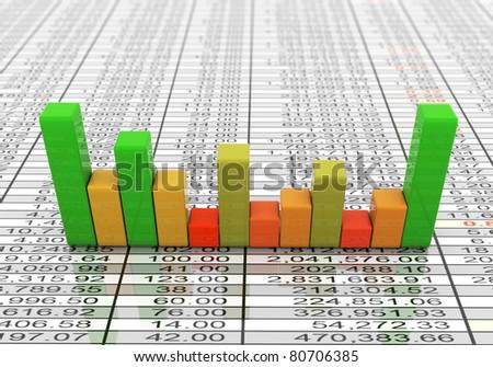3d reflective progress bars on the background of sheet - stock photo