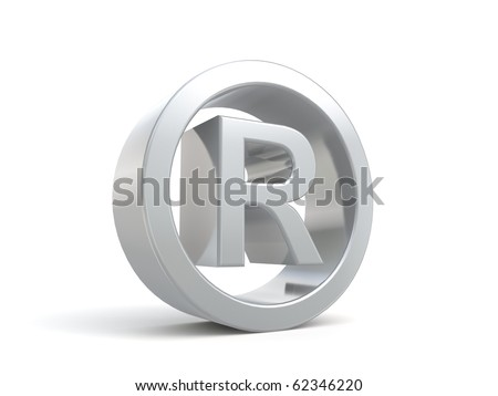 3d registered name sign from my metal collection - stock photo