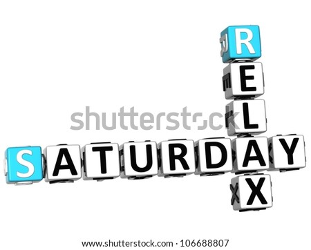 3D Relax Saturday Crossword on white background